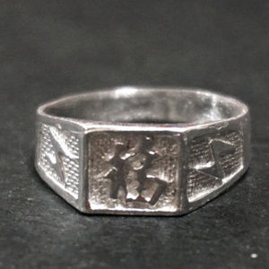 Silver Luck Chinese Character Men's Ring